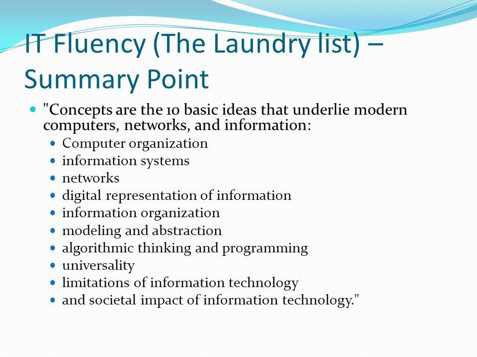 IT Fluency (The Laundry list) – Summary Point