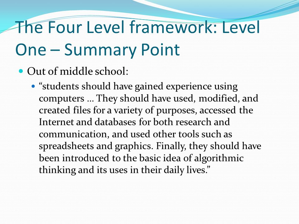 The Four Level framework: Level One – Summary Point