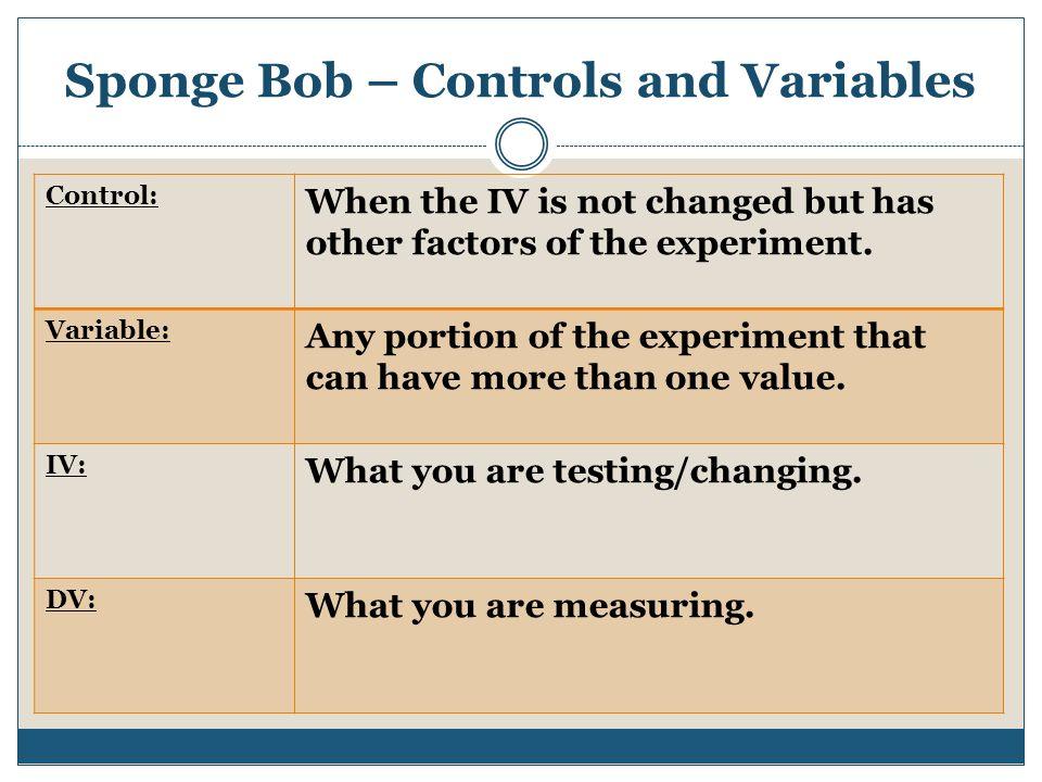 Sponge Bob – Controls and Variables