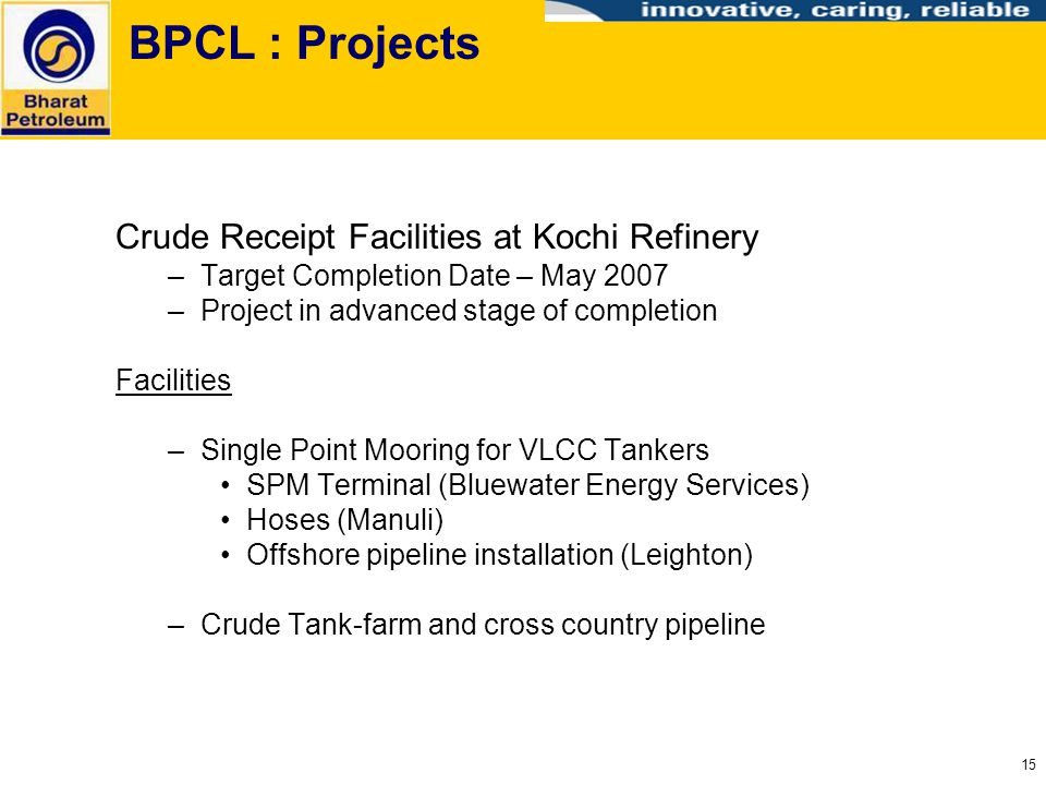 BPCL : Projects Crude Receipt Facilities at Kochi Refinery