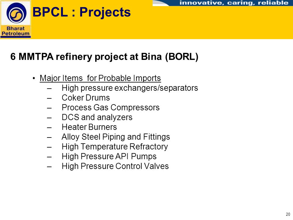 BPCL : Projects 6 MMTPA refinery project at Bina (BORL)