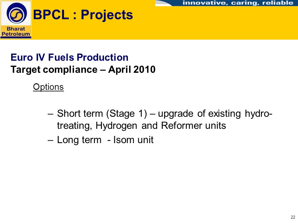 BPCL : Projects Euro IV Fuels Production Target compliance – April 2010. Options.