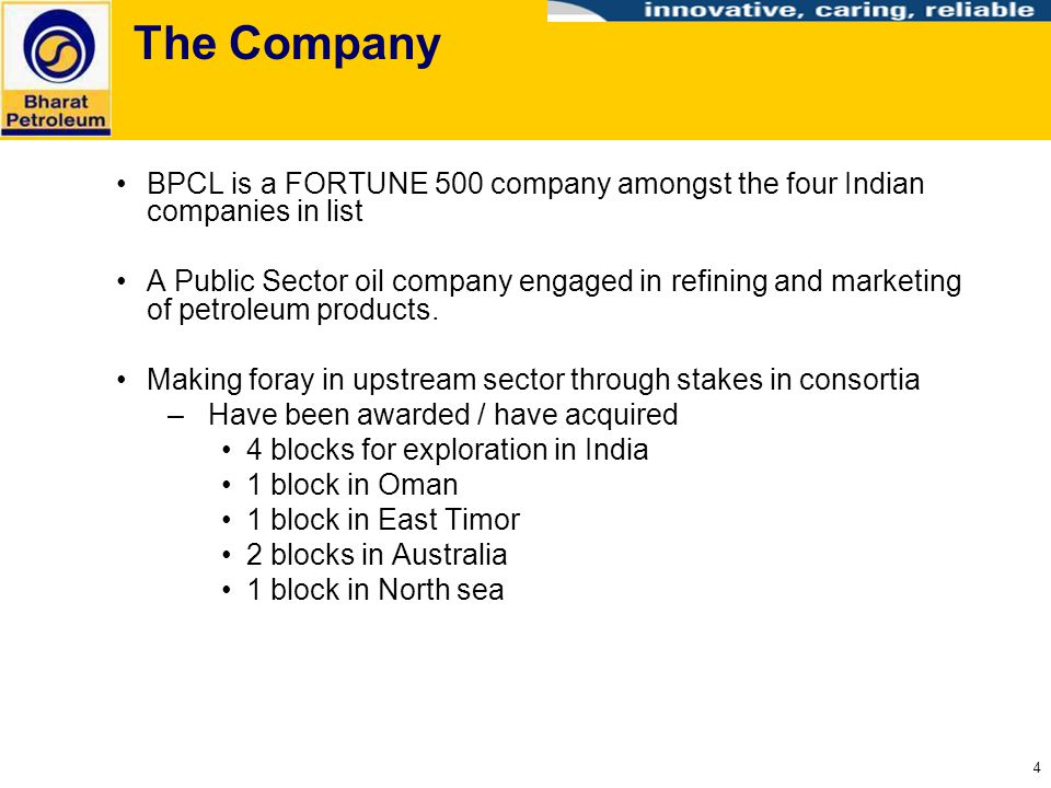 The Company BPCL is a FORTUNE 500 company amongst the four Indian companies in list.