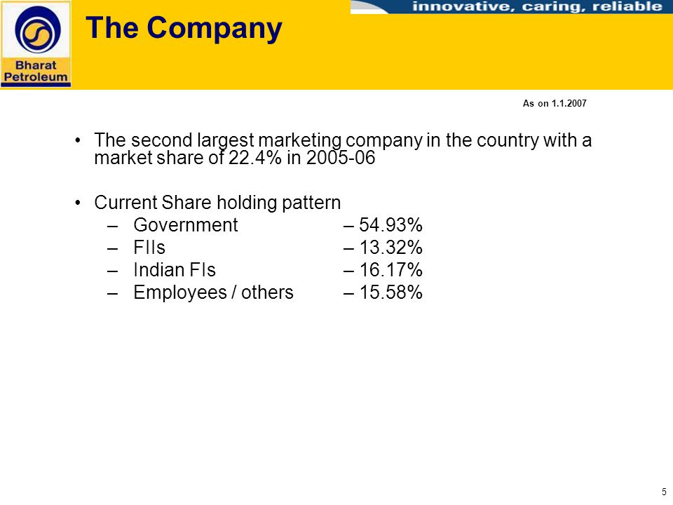 The Company As on 1.1.2007. The second largest marketing company in the country with a market share of 22.4% in 2005-06.