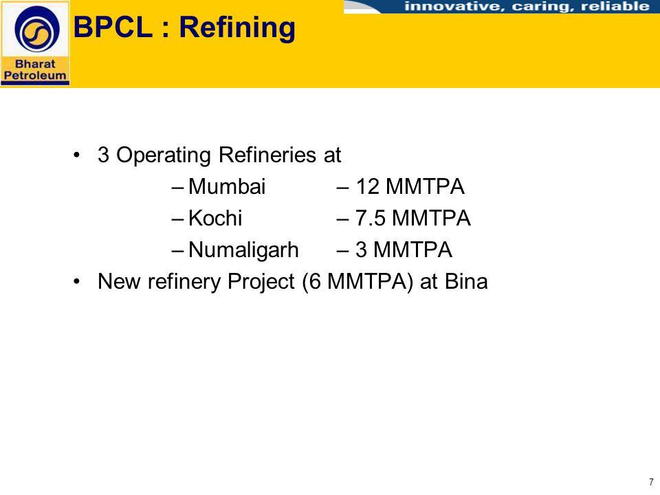 BPCL : Refining 3 Operating Refineries at Mumbai – 12 MMTPA