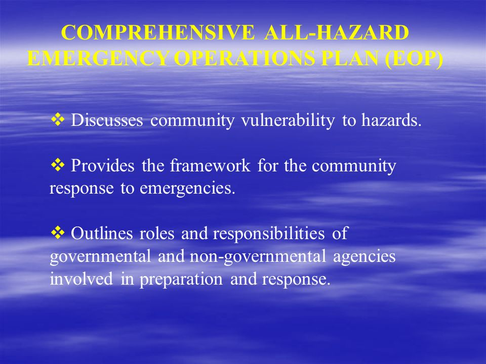 COMPREHENSIVE ALL-HAZARD EMERGENCY OPERATIONS PLAN (EOP)