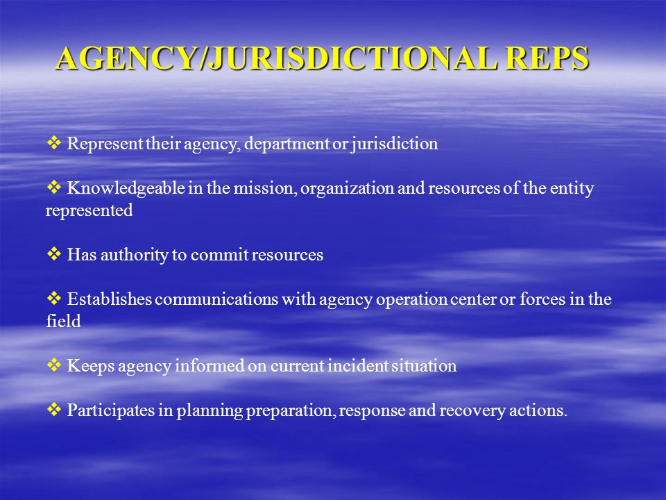 AGENCY/JURISDICTIONAL REPS