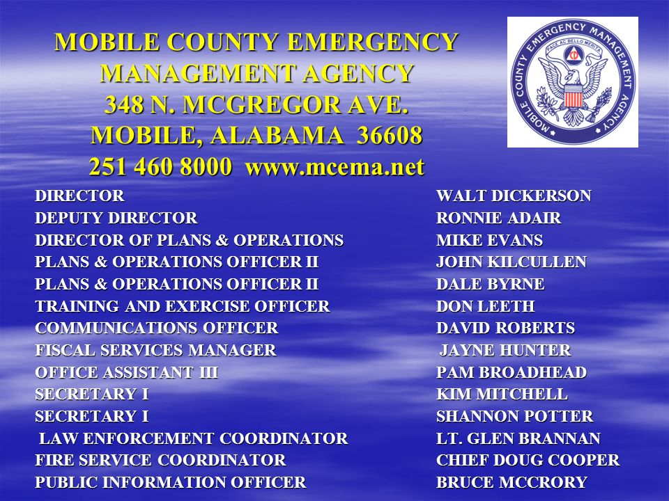 MOBILE COUNTY EMERGENCY MANAGEMENT AGENCY 348 N. MCGREGOR AVE
