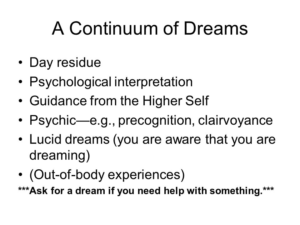 A Continuum of Dreams Day residue Psychological interpretation