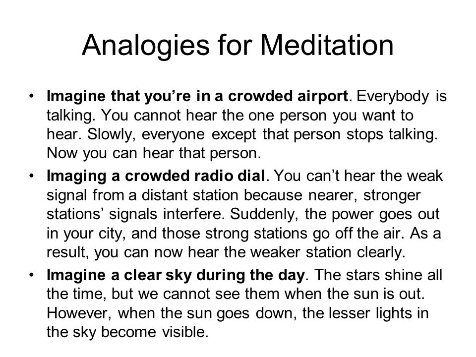 Analogies for Meditation