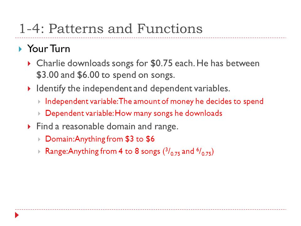 1-4: Patterns and Functions