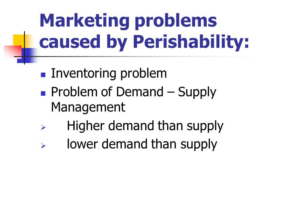 Marketing problems caused by Perishability: