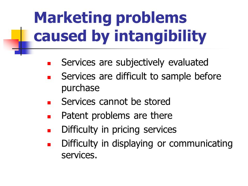 Marketing problems caused by intangibility