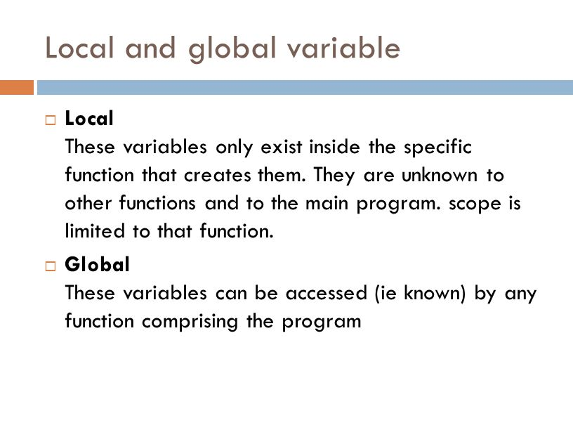 Local and global variable