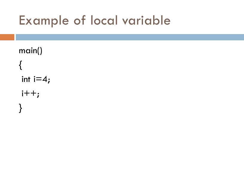 Example of local variable