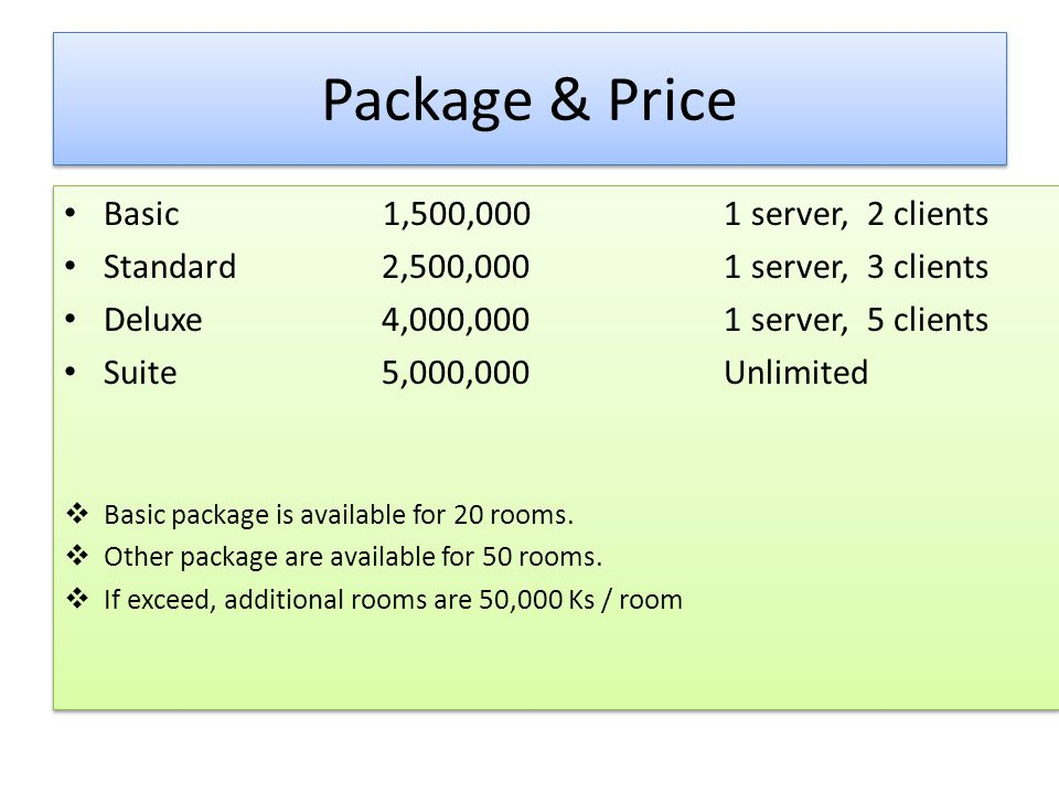 Package & Price Basic 1,500,000 1 server, 2 clients