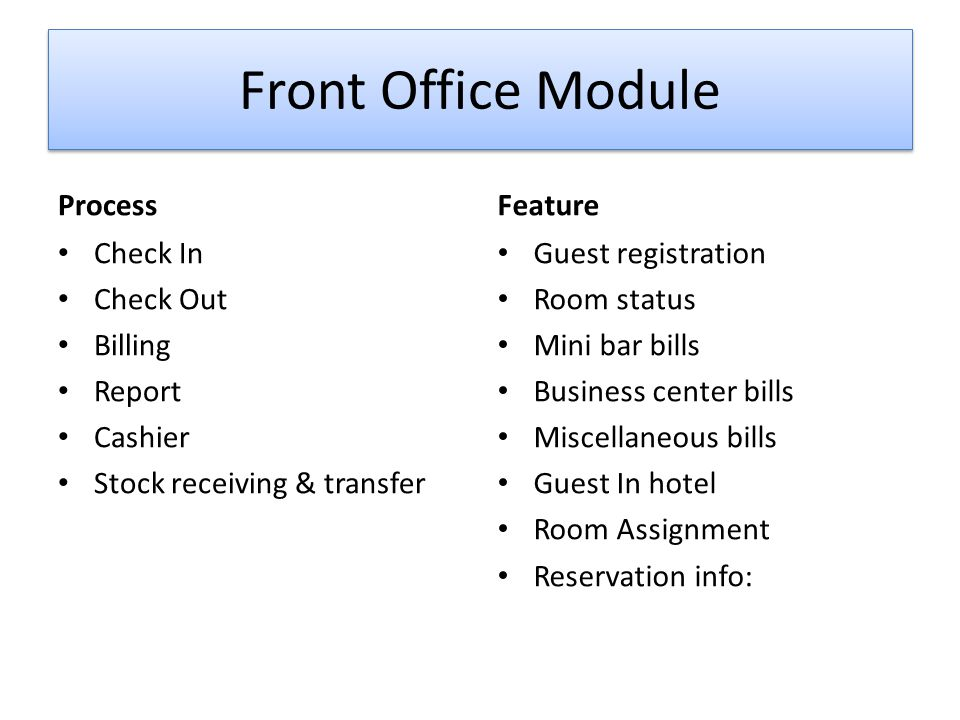 Front Office Module Process Feature Check In Check Out Billing Report