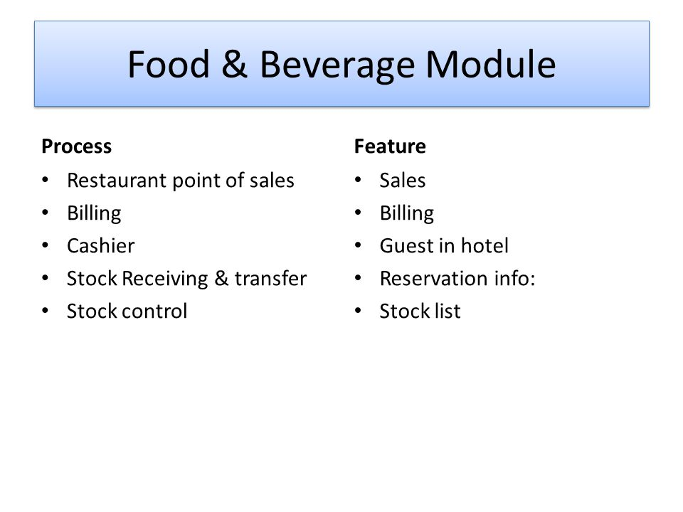Food & Beverage Module Process Feature Restaurant point of sales