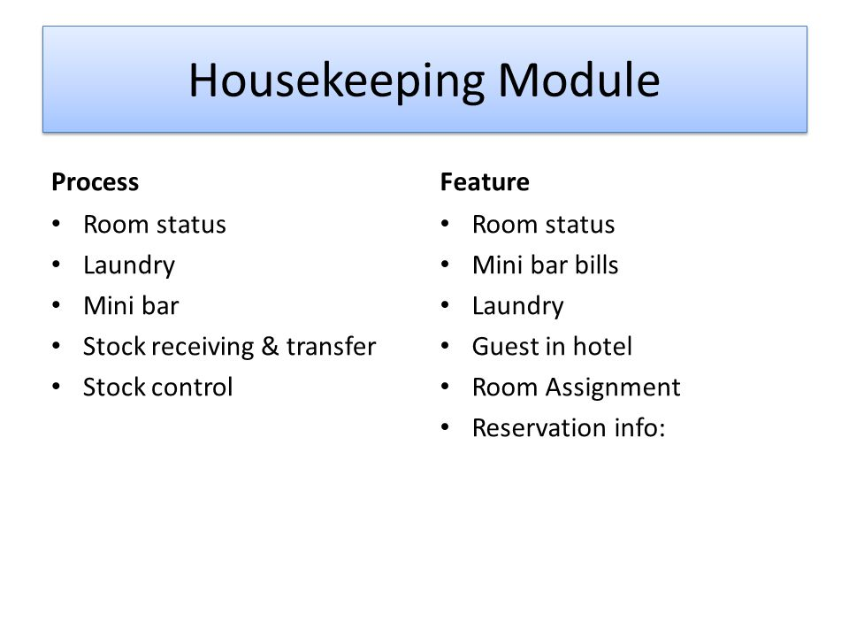 Housekeeping Module Process Feature Room status Laundry Mini bar