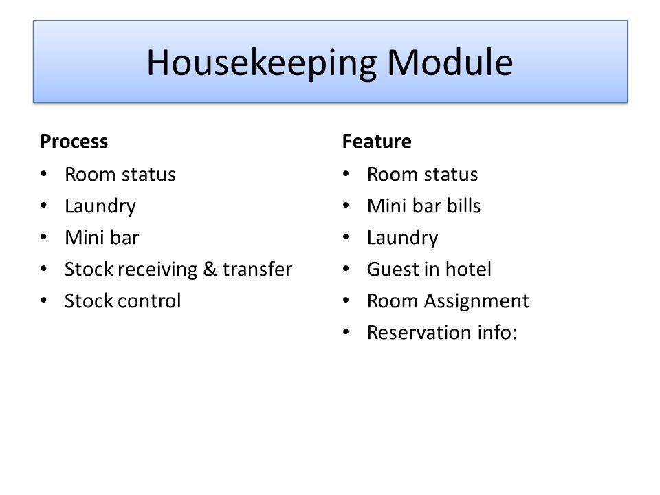 Housekeeping Module Process Feature Room status Laundry Mini bar