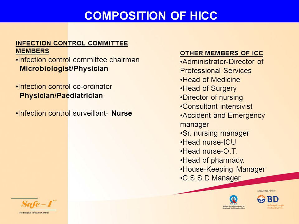 COMPOSITION OF HICC Infection control committee chairman