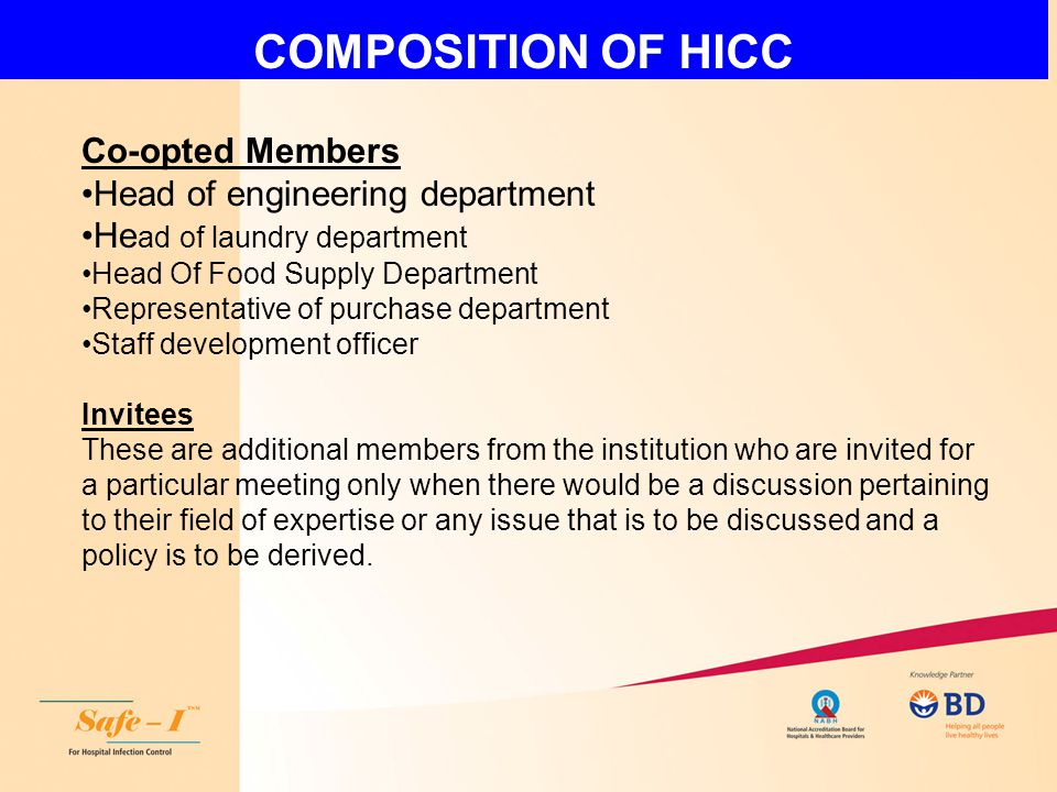 COMPOSITION OF HICC Co-opted Members Head of engineering department