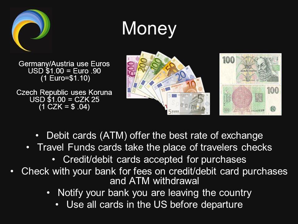 Money Debit cards (ATM) offer the best rate of exchange