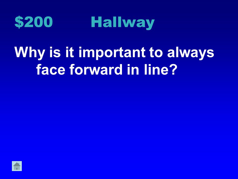$200 Hallway Why is it important to always face forward in line