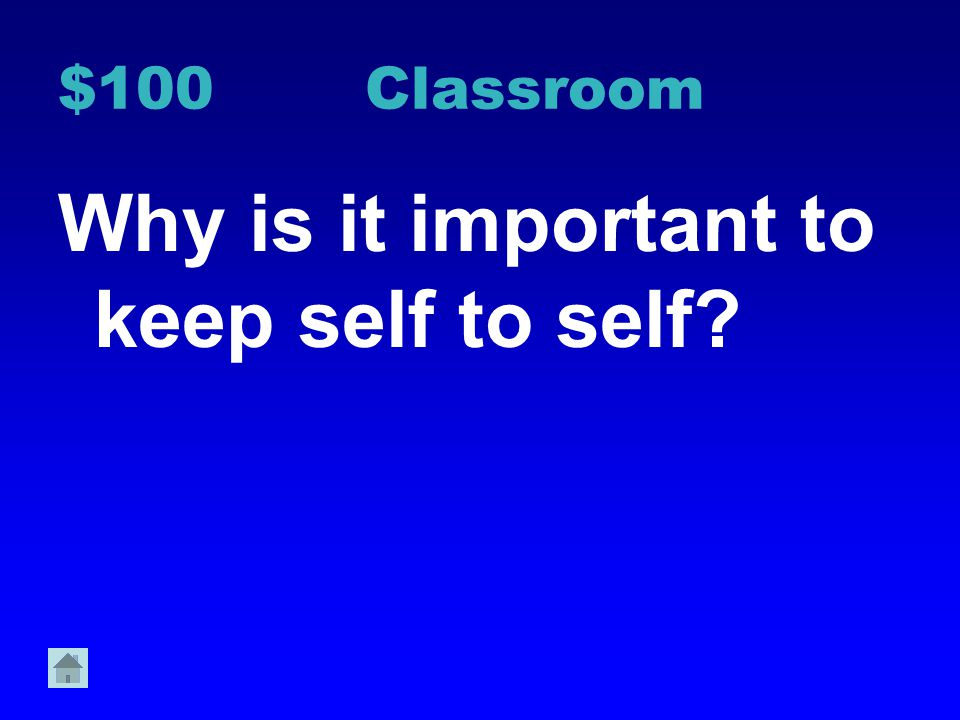 Why is it important to keep self to self