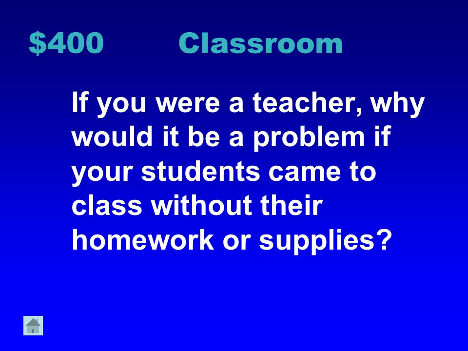 $400 Classroom If you were a teacher, why would it be a problem if your students came to class without their homework or supplies