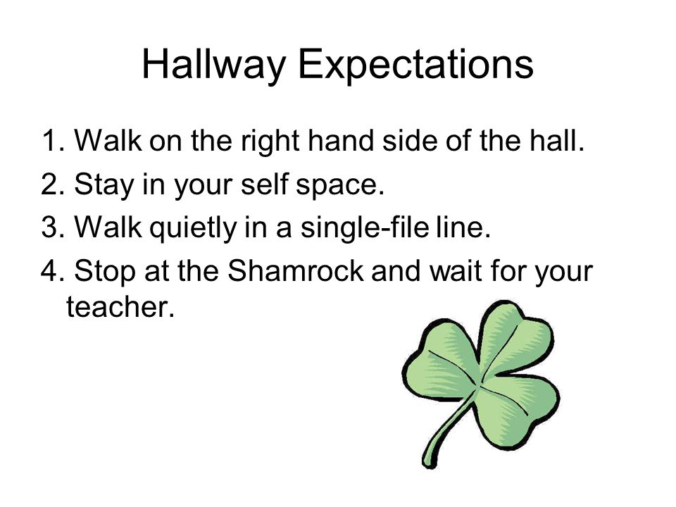 Hallway Expectations 1. Walk on the right hand side of the hall.
