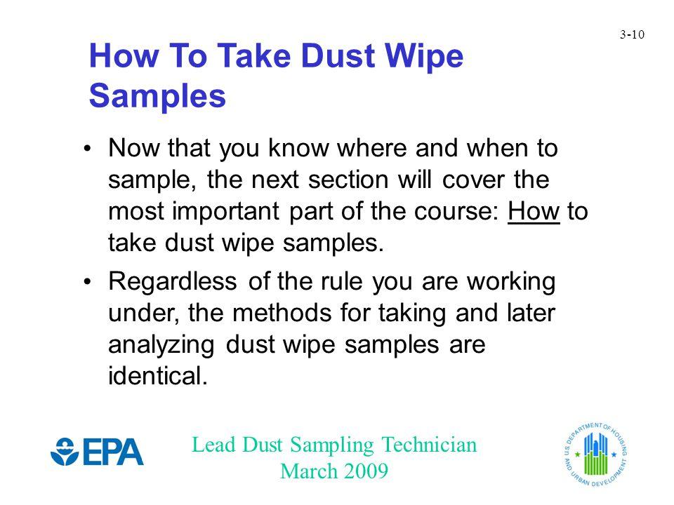 Chapter 3: Lead Dust Wipe Sampling