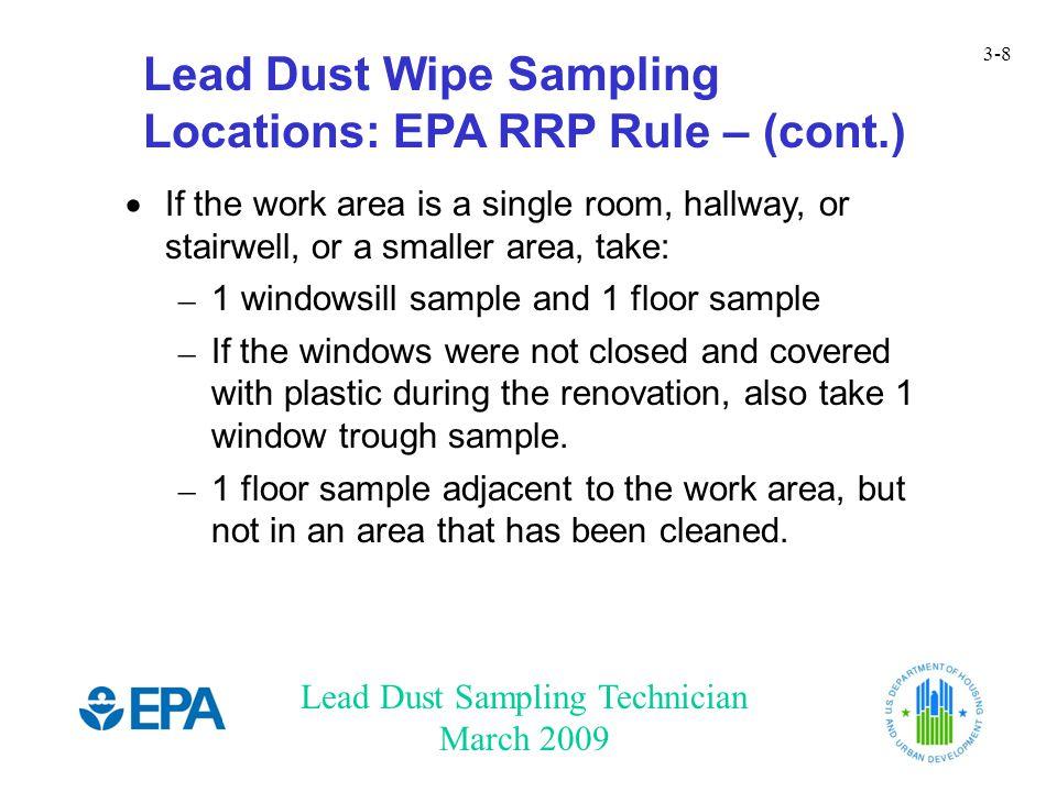 Lead Dust Wipe Sampling Locations: EPA RRP Rule – (cont.)