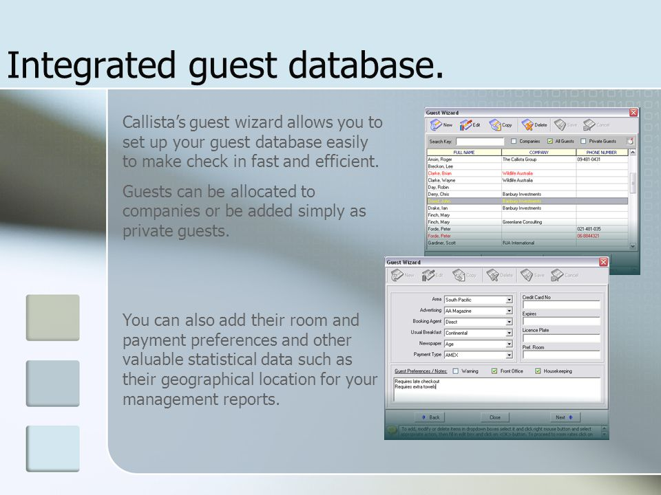 Integrated guest database.