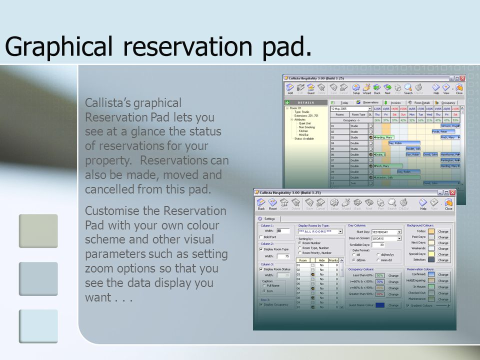 Graphical reservation pad.