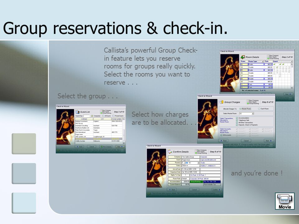 Group reservations & check-in.