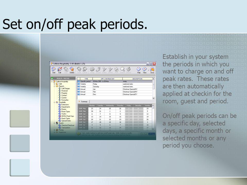 Set on/off peak periods.