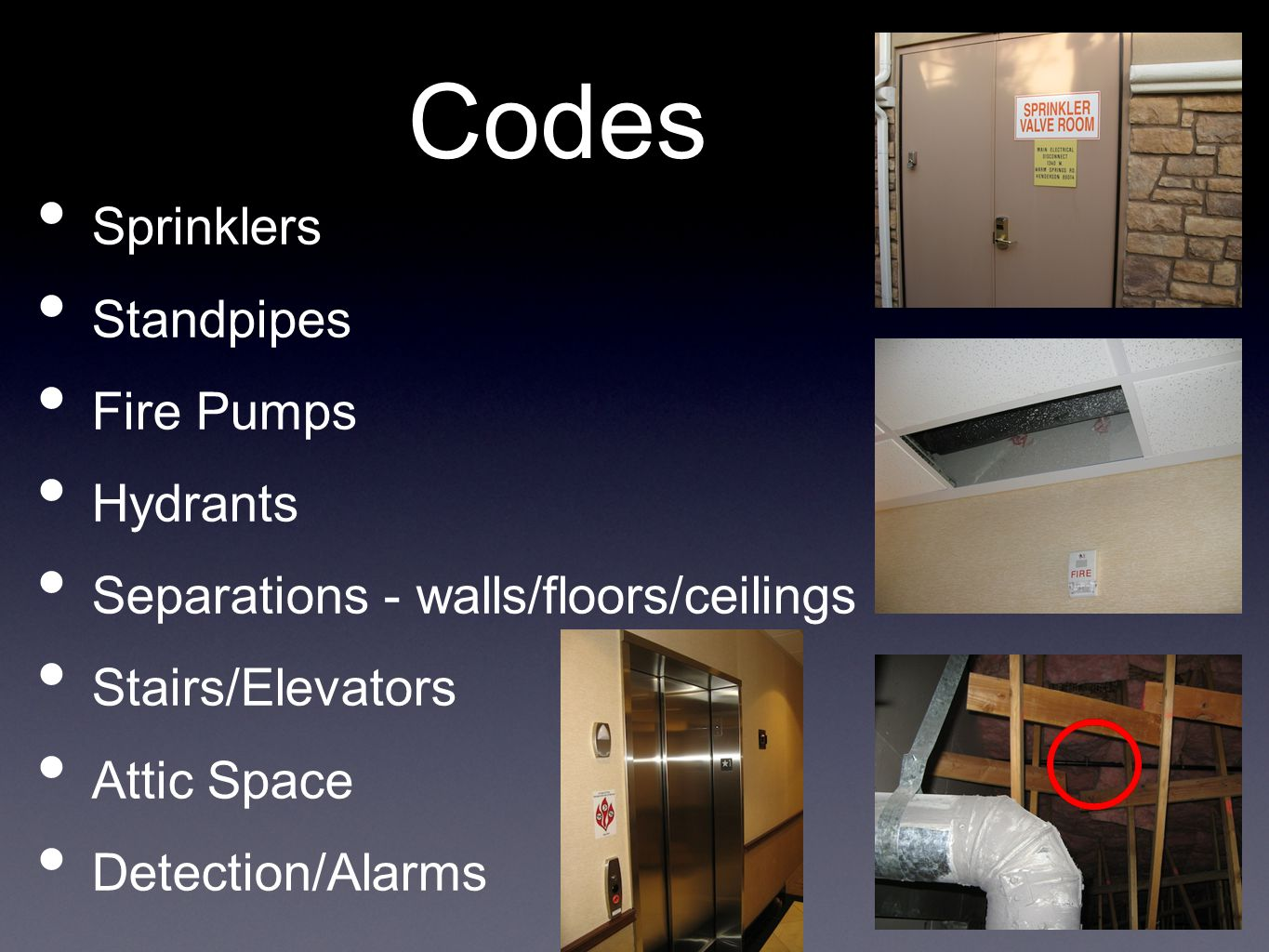 Codes Codes Sprinklers Standpipes Fire Pumps Hydrants