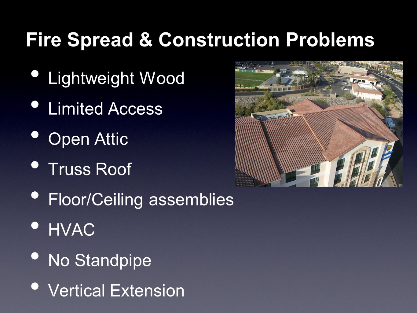 Fire Spread & Construction Problems
