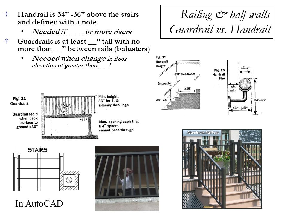 Railing & half walls Guardrail vs. Handrail