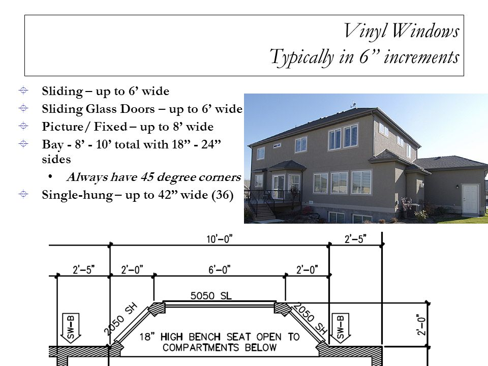 Vinyl Windows Typically in 6 increments