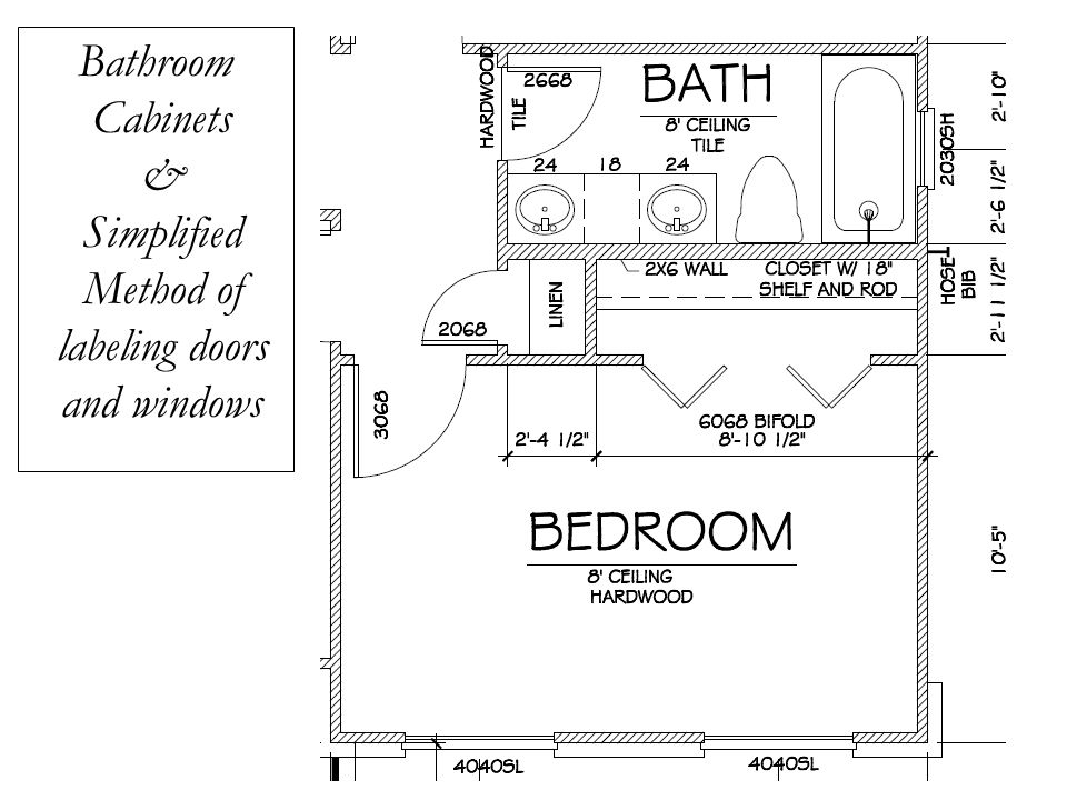 Bathroom Cabinets & Simplified Method of labeling doors and windows