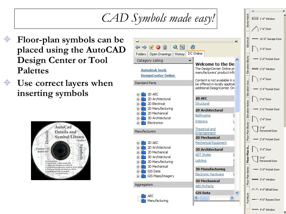 CAD Symbols made easy! Floor-plan symbols can be placed using the AutoCAD Design Center or Tool Palettes.