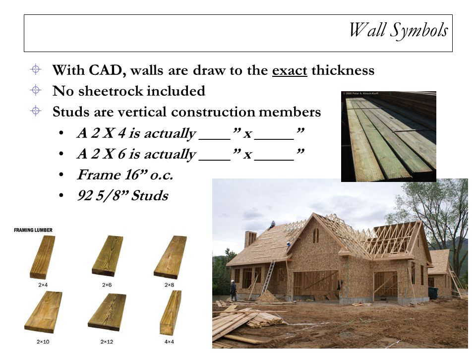 Wall Symbols With CAD, walls are draw to the exact thickness