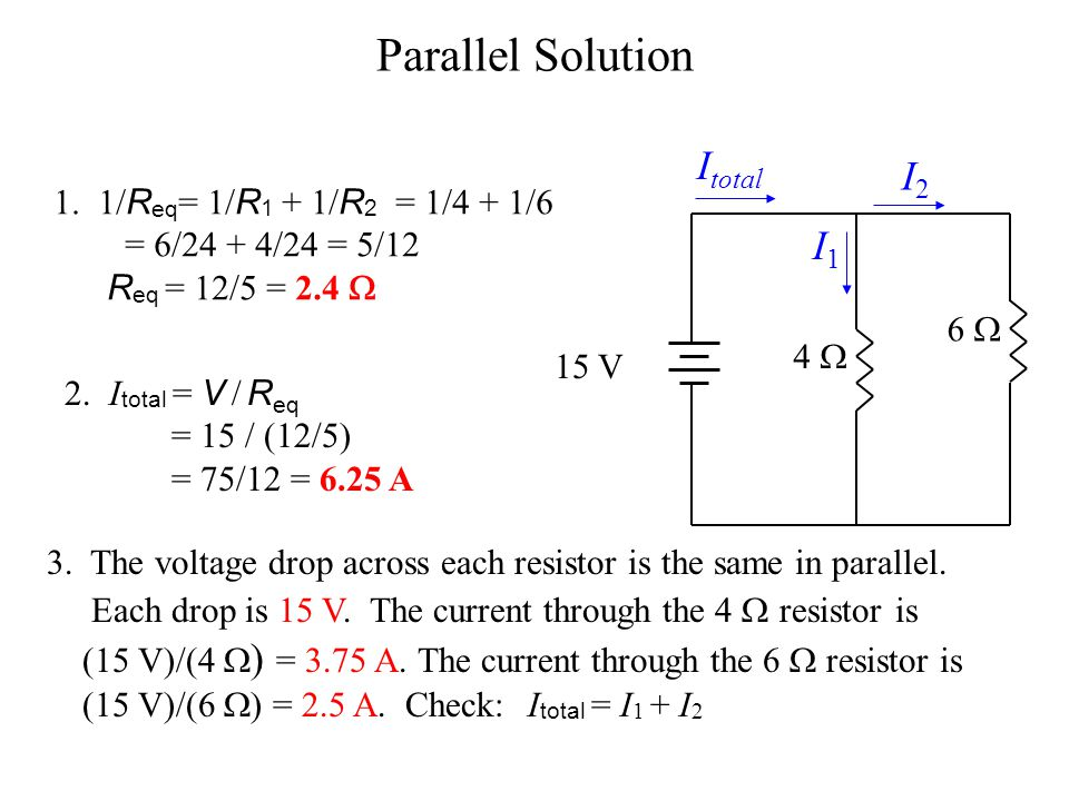 Parallel Solution Itotal I2 I1 1. 1/Req= 1/R1 + 1/R2 = 1/4 + 1/6