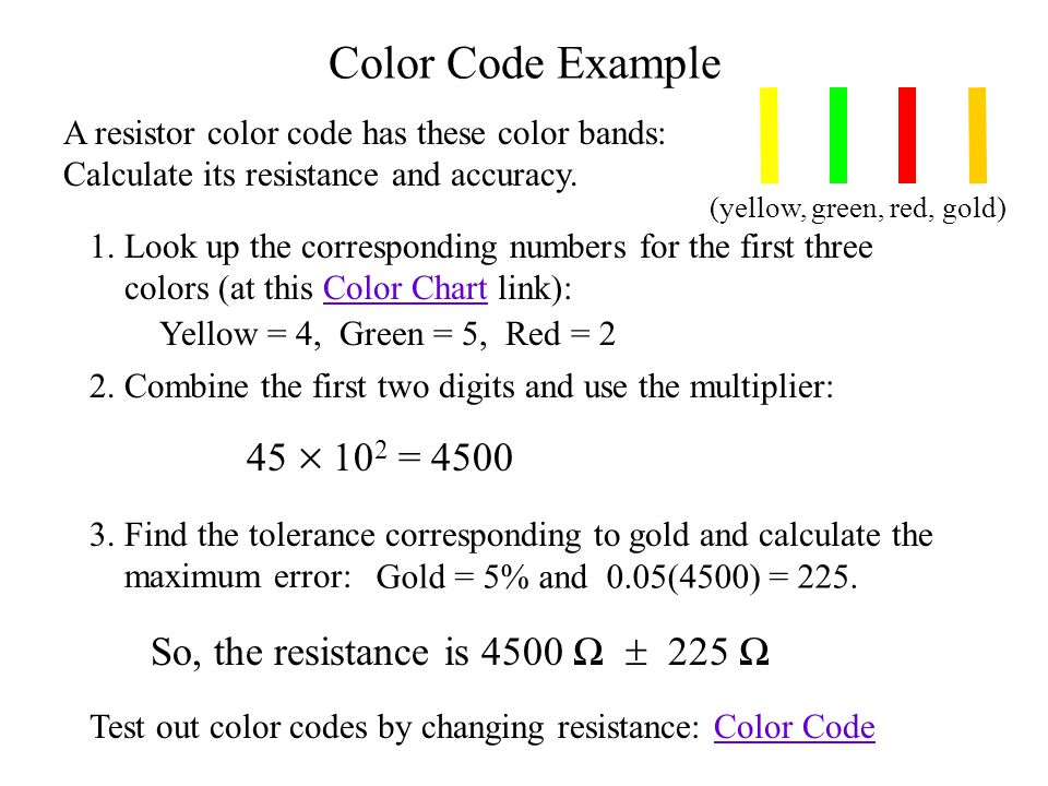 Color Code Example A resistor color code has these color bands: Calculate its resistance and accuracy.
