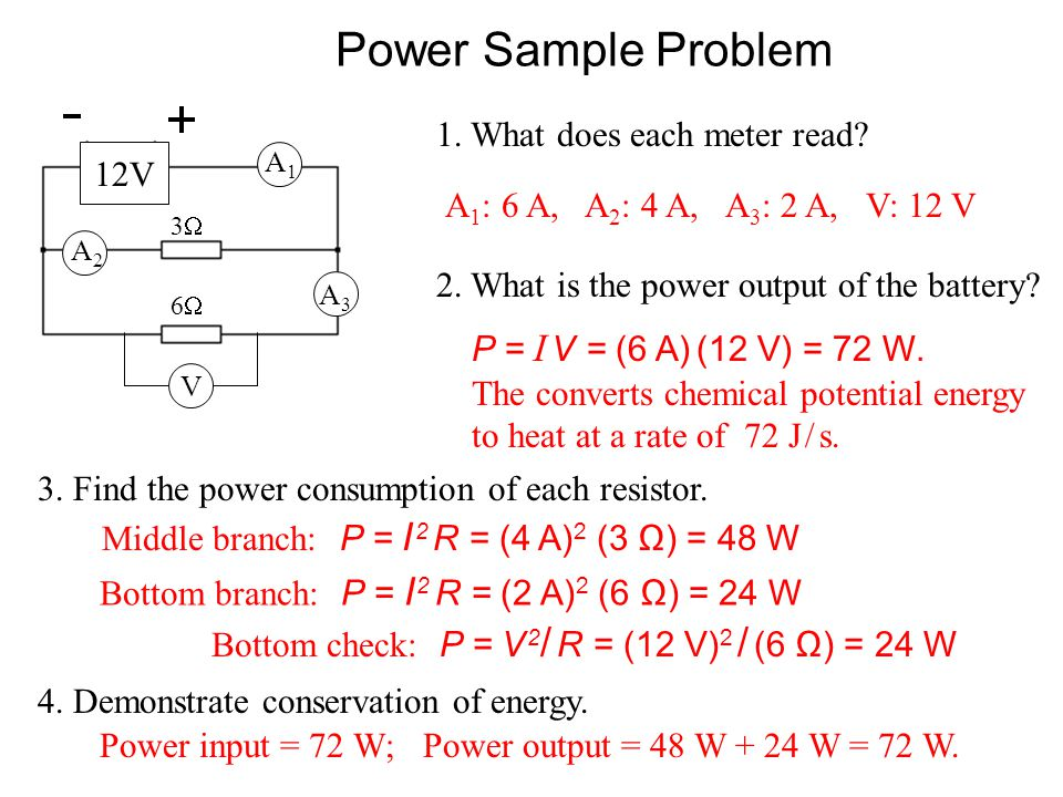 Power Sample Problem 1. What does each meter read 12V