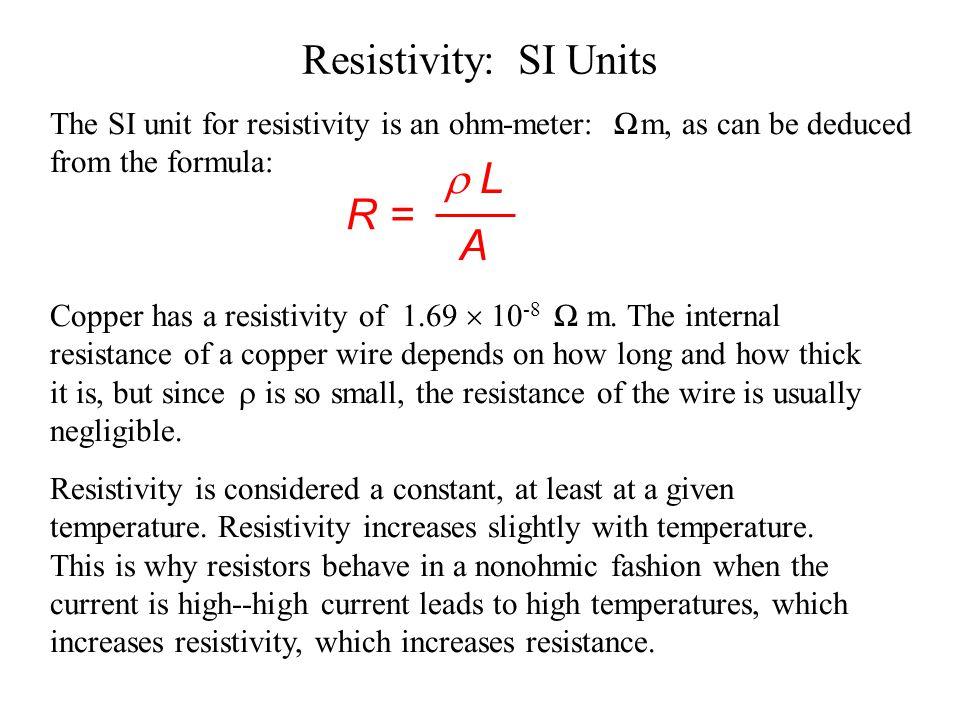 Resistivity: SI Units  L R = A