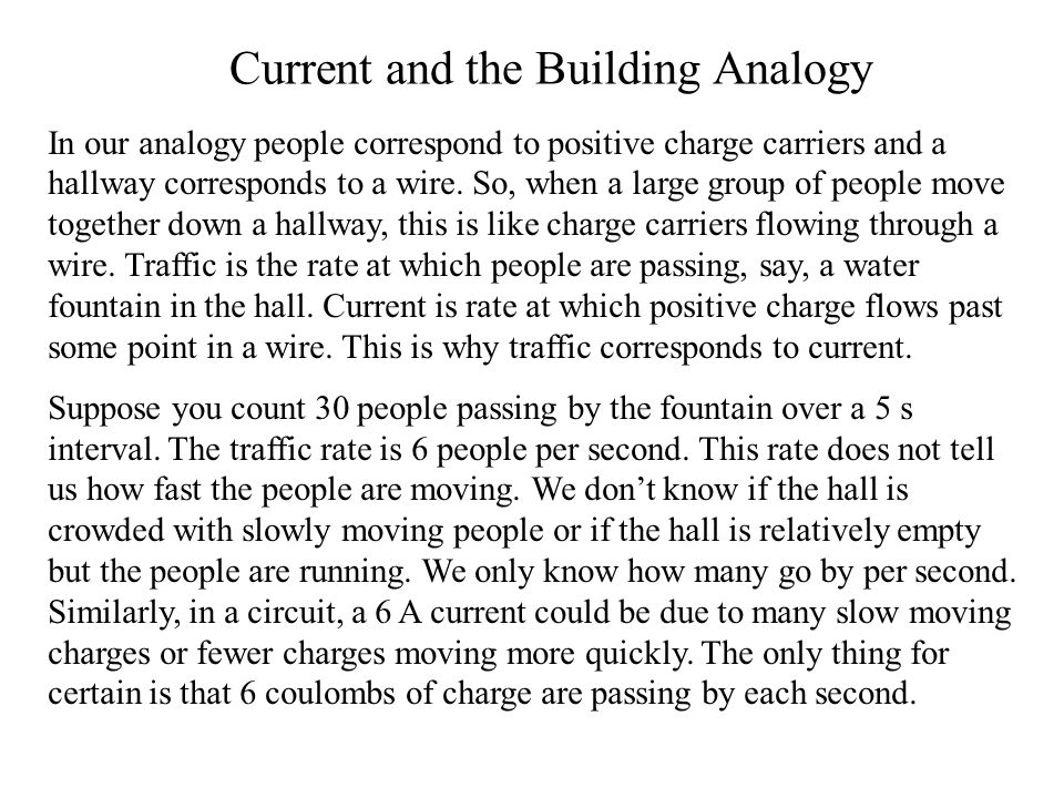 Current and the Building Analogy