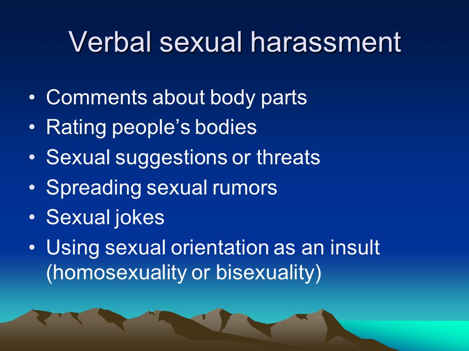 Verbal sexual harassment